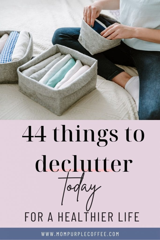 a mother decluttering at home